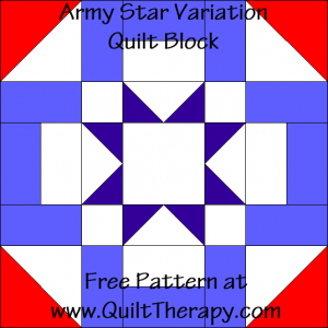 Army Star Variation Quilt Block Free Pattern at QuiltTherapy.com!