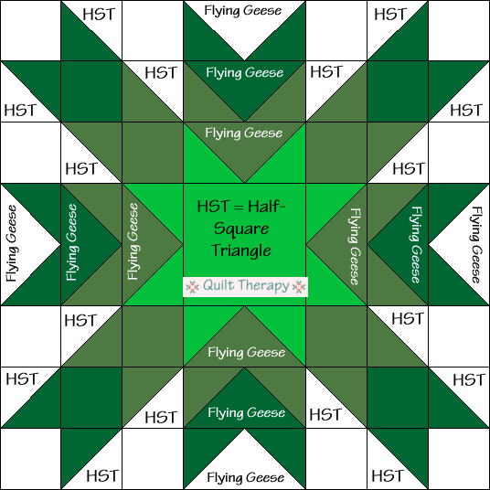 Christmas Star Quilt Block Diagram Free Pattern at QuiltTherapy.com!