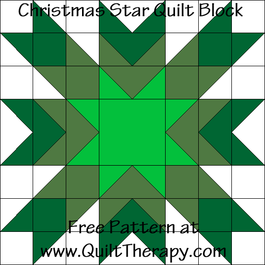 Christmas Star Quilt Block Free Pattern at QuiltTherapy.com!