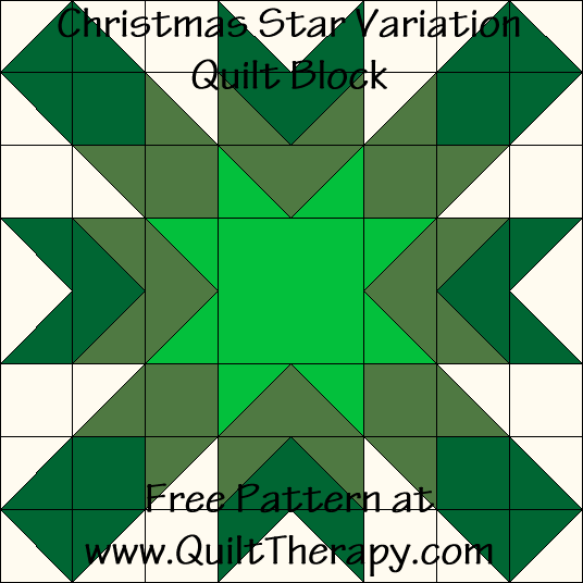 Christmas Star Variation Quilt Block Free Pattern at QuiltTherapy.com!