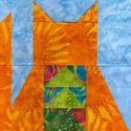 """Flying Geese Kitty Quilt Block"" Free Pattern designed by Kim Noblin from Block Central"
