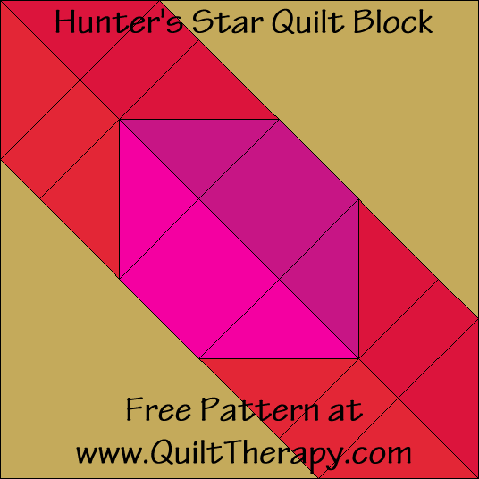 Hunter's Star Quilt Block Free Pattern at QuiltTherapy.com!