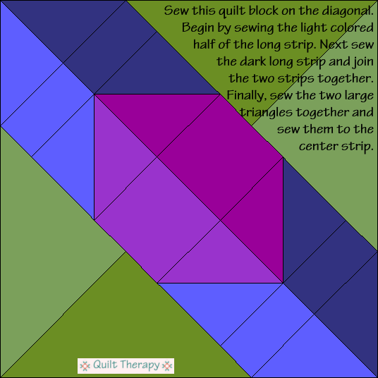 Hunter's Star Variation Quilt Block Diagram Free Pattern at QuiltTherapy.com!