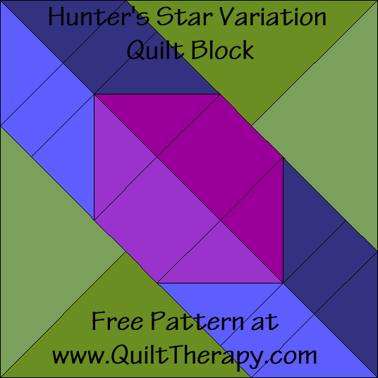 Hunter's Star Variation Quilt Block Free Pattern at QuiltTherapy.com!