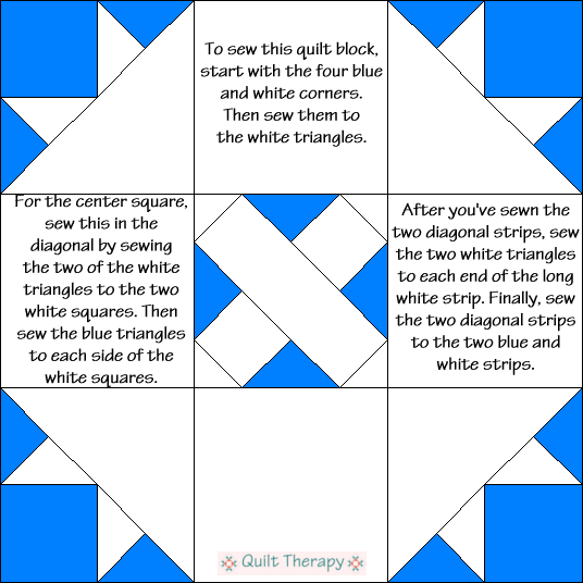 No Name Quilt Block Diagram Free Pattern at QuiltTherapy.com!