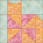 """Pinwheel Cat Quilt Block"" Free Pattern designed by Kim Noblin from Block Central"