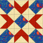 """Swing in the Center Quilt Block"" Free Pattern designed by Kim Noblin from Block Central"