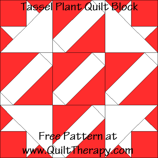 Tassel Plant Quilt Block Free Pattern at QuiltTherapy.com!
