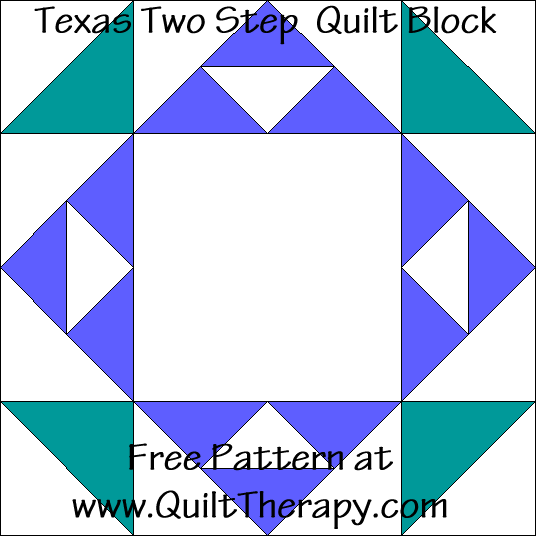 Texas Two Step Quilt Block Free Pattern at QuiltTherapy.com!