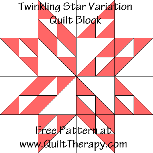 Twinkling Star Variation Quilt Block Free Pattern at QuiltTherapy.com!