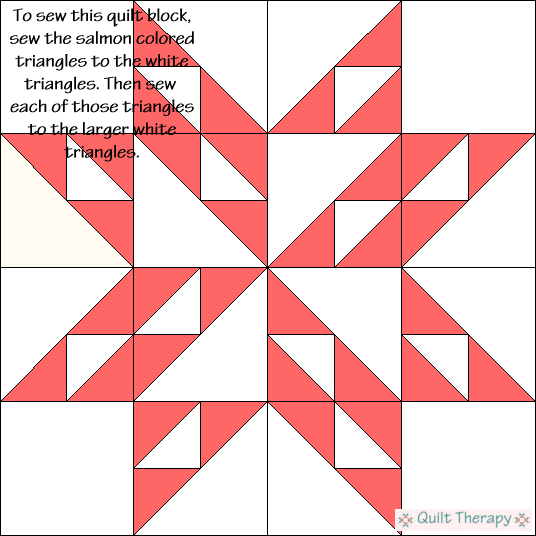 Twinkling Star Variation Quilt Block Diagram Free Pattern at QuiltTherapy.com!