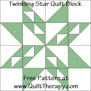 Twinkling Star Quilt Block Free Pattern at QuiltTherapy.com!