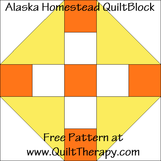 Alaska Homestead Quilt Block Free Pattern at QuiltTherapy.com!