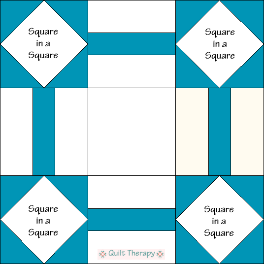 Blockhouse Quilt Block Diagram Free Pattern at QuiltTherapy.com!