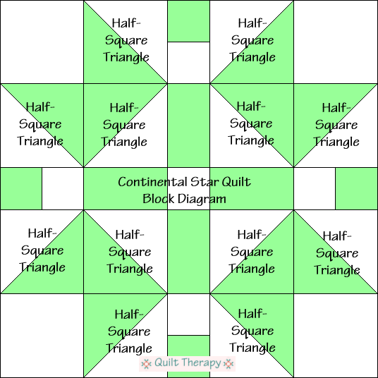 """Continental Star Quilt Block Diagram Free Pattern for 12"""" finished quilt block at QuiltTherapy.com!"""
