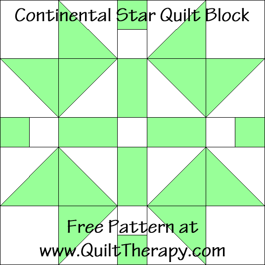 Continental Star Quilt Block Free Pattern at QuiltTherapy.com!