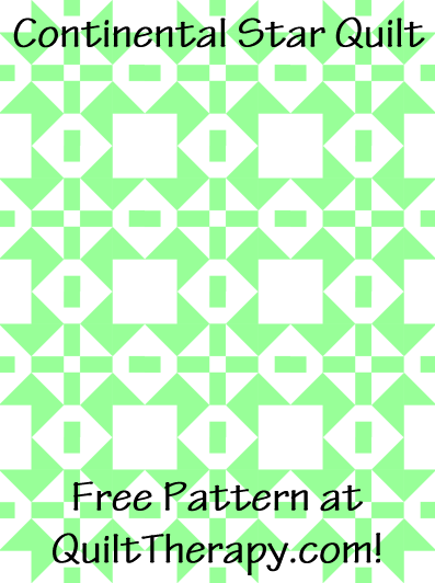 """Continental Star Quilt Free Pattern for a 36"""" x 48"""" quilt at QuiltTherapy.com!"""