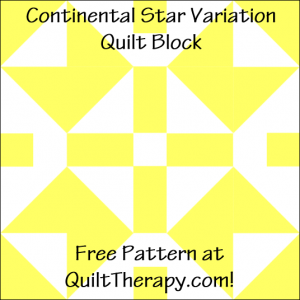 """Continental Star Variation Quilt Block Free Pattern for a 12"""" quilt block at QuiltTherapy.com!"""