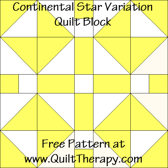 Continental Star Variation Quilt Block Free Pattern at QuiltTherapy.com!