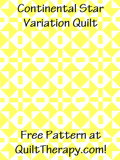 """Continental Star Variation Quilt Free Pattern for a 36"""" x 48"""" quilt at QuiltTherapy.com!"""