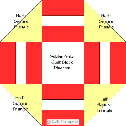 """Golden Gate Quilt Block Diagram is a Free Pattern for 12"""" finished quilt block at QuiltTherapy.com!"""