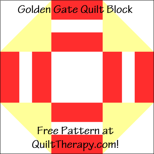 """Golden Gate Quilt Block is a Free Pattern for a 12"""" quilt block at QuiltTherapy.com!"""