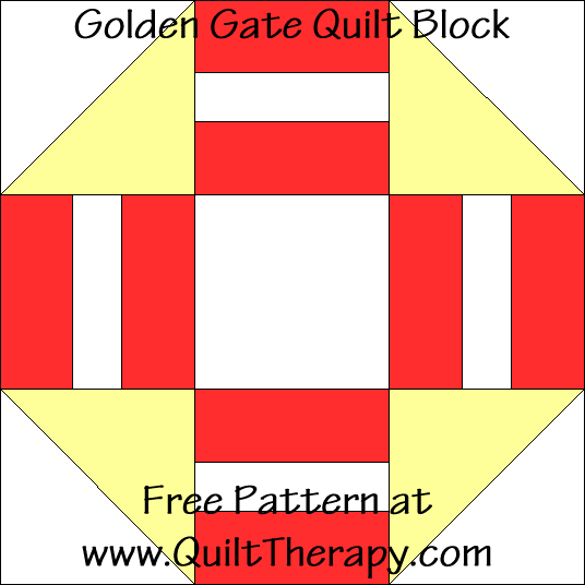 Golden Gate Quilt Block Free Pattern at QuiltTherapy.com!