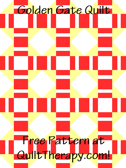 """Golden Gate Quilt is a Free Pattern for a 36"""" x 48"""" quilt at QuiltTherapy.com!"""