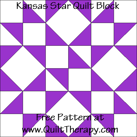 Kansas Star Quilt Block Free Pattern at QuiltTherapy.com!