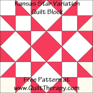 Kansas Star Variation Quilt Block Free Pattern at QuiltTherapy.com!
