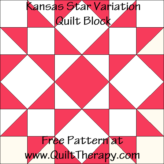 Kansas Star Variation Quilt Block Free Pattern at QuiltTherapy.com!
