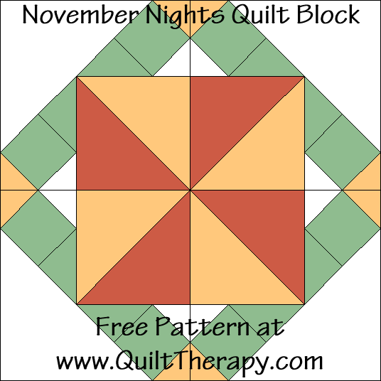 November Nights Quilt Block Free Pattern at QuiltTherapy.com!