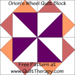 Orion's Wheel Quilt Block Free Pattern at QuiltTherapy.com!