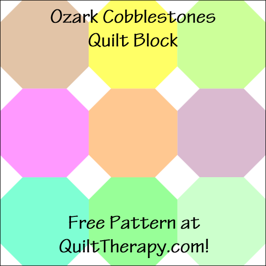 """Ozark Cobblestones Quilt Block Free Pattern for a 12"""" quilt block at QuiltTherapy.com!"""