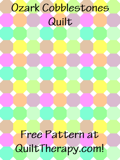 """Ozark Cobblestones Quilt Free Pattern for a 36"""" x 48"""" quilt at QuiltTherapy.com!"""