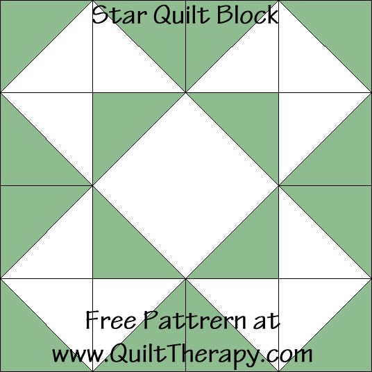 Star Quilt Block Free Pattern at QuiltTherapy.com!