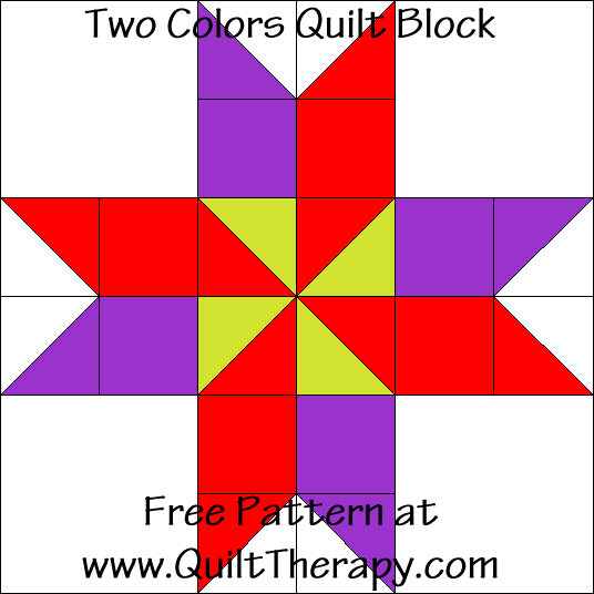 Two Colors Quilt Block Free Pattern at QuiltTherapy.com!