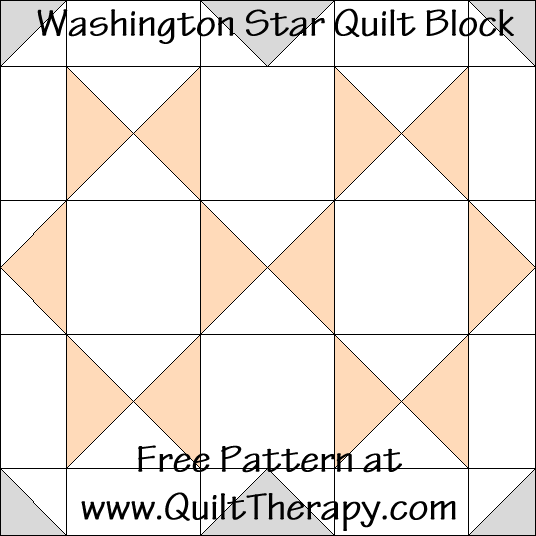 Washington Star Quilt Block Free Pattern at QuiltTherapy.com!