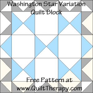 Washington Star Variation Quilt Block Free Pattern at QuiltTherapy.com!