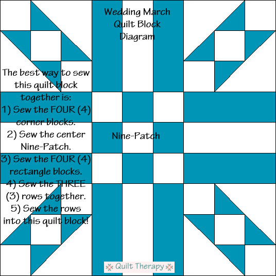 "Wedding March Quilt Block Diagram Free Pattern for 12"" finished quilt block at QuiltTherapy.com!"