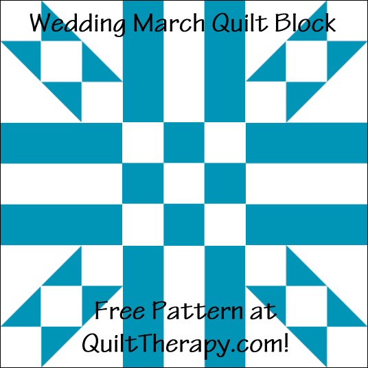 "Wedding March Quilt Block Free Pattern for a 12"" quilt block at QuiltTherapy.com!"