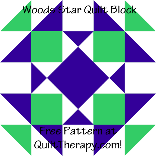 """Woods Star Quilt Block Free Pattern for a 12"""" quilt block at QuiltTherapy.com!"""
