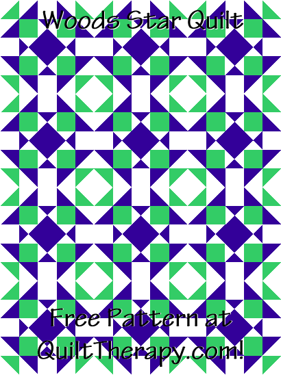 """Woods Star Quilt Free Pattern for a 36"""" x 48"""" quilt at QuiltTherapy.com!"""