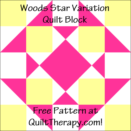"""Woods Star Variation Quilt Block Free Pattern for a 12"""" quilt block at QuiltTherapy.com!"""