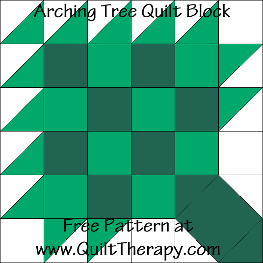 Arching Tree Quilt Block Free Pattern at QuiltTherapy.com!