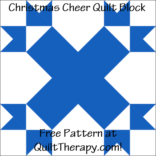 "Christmas Cheer Quilt Block Free Pattern for a 12"" quilt block at QuiltTherapy.com!"