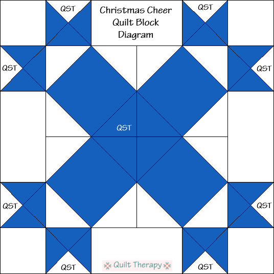"Christmas Cheer Block Diagram Free Pattern for 12"" finished quilt block at QuiltTherapy.com!"