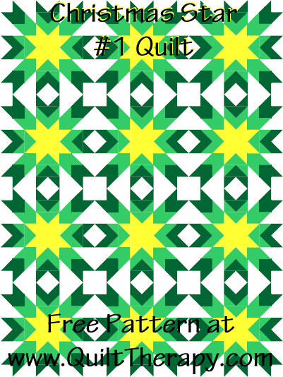 Christmas Star #1 Quilt Free Pattern at QuiltTherapy.com!