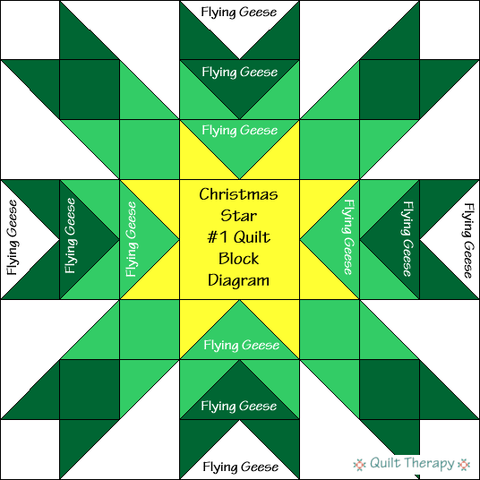 """Christmas Star #1 Diagram Free Pattern for 12"""" finished quilt block at QuiltTherapy.com!"""