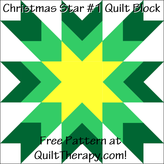 """Christmas Star #1 Quilt Block Free Pattern for a 12"""" quilt block at QuiltTherapy.com!"""
